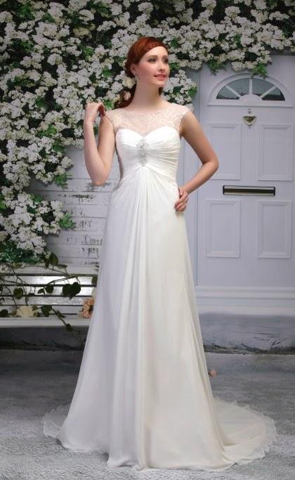 Griechische Göttin Brautkleid aus Chiffon geschlossen, schlicht. Leichtes Brautkleid.