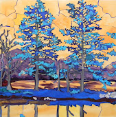 Blue Trees: Reflection 30 x 30 SOLD