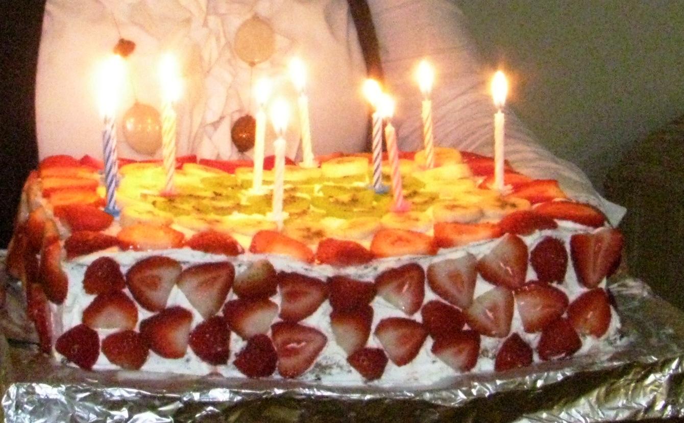 White Cream Cake with Fruit Topping Meyveli Pasta Tasting