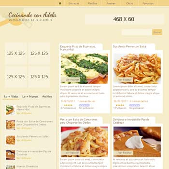 Cocinando con Adela blogger template. blogspot template for photography blogs