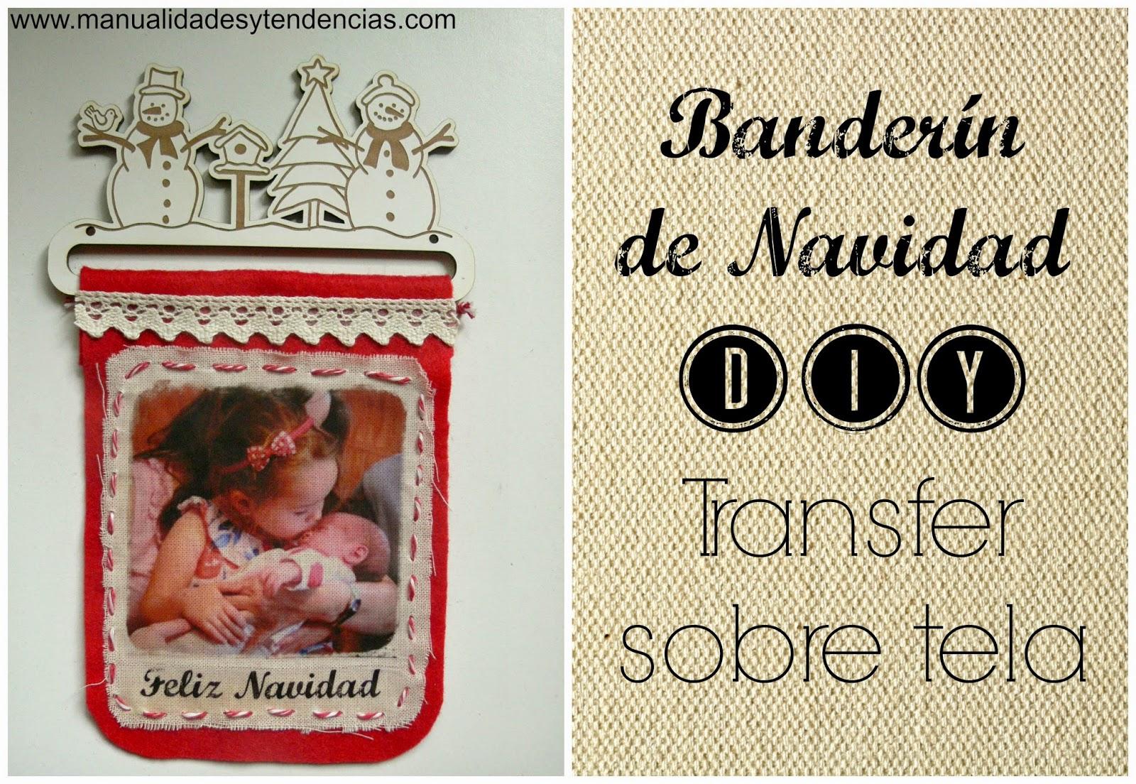 Transfer sobre tela: Bander�n navide�o / Christmas pennant banner