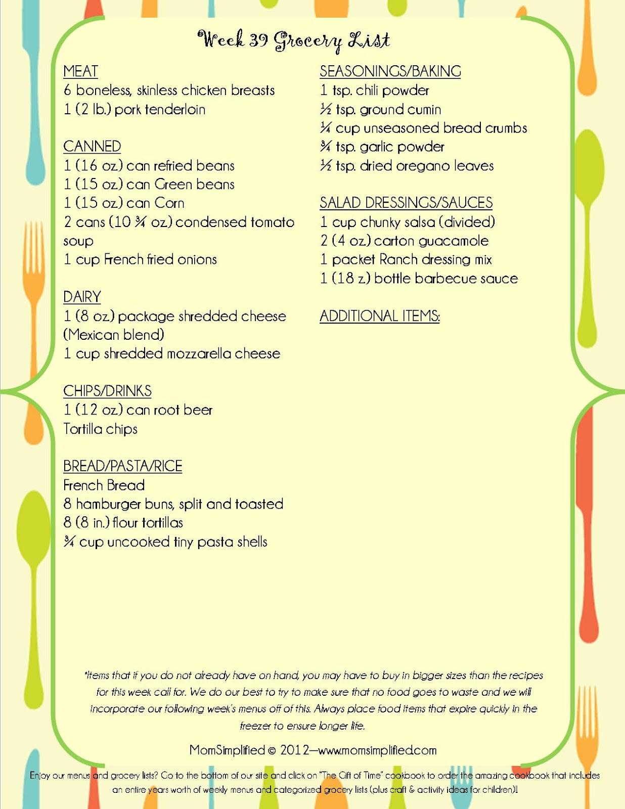 momsimplified  week 39 menu  u0026 grocery list  with recipe cards