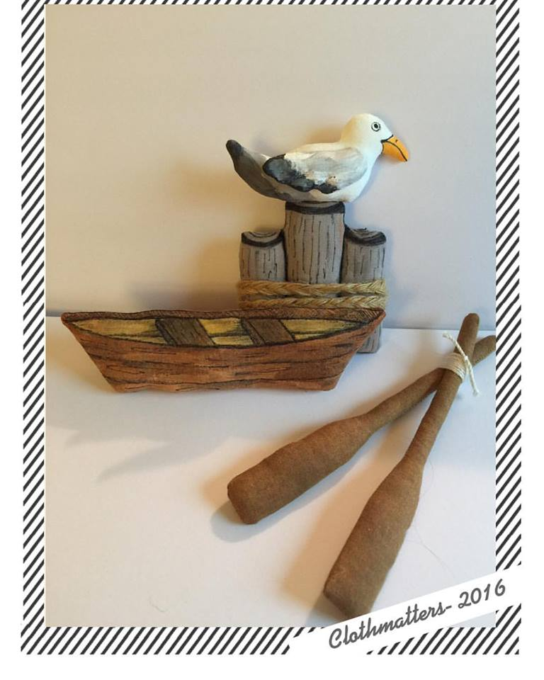 Seagull, Rowboat and Oars