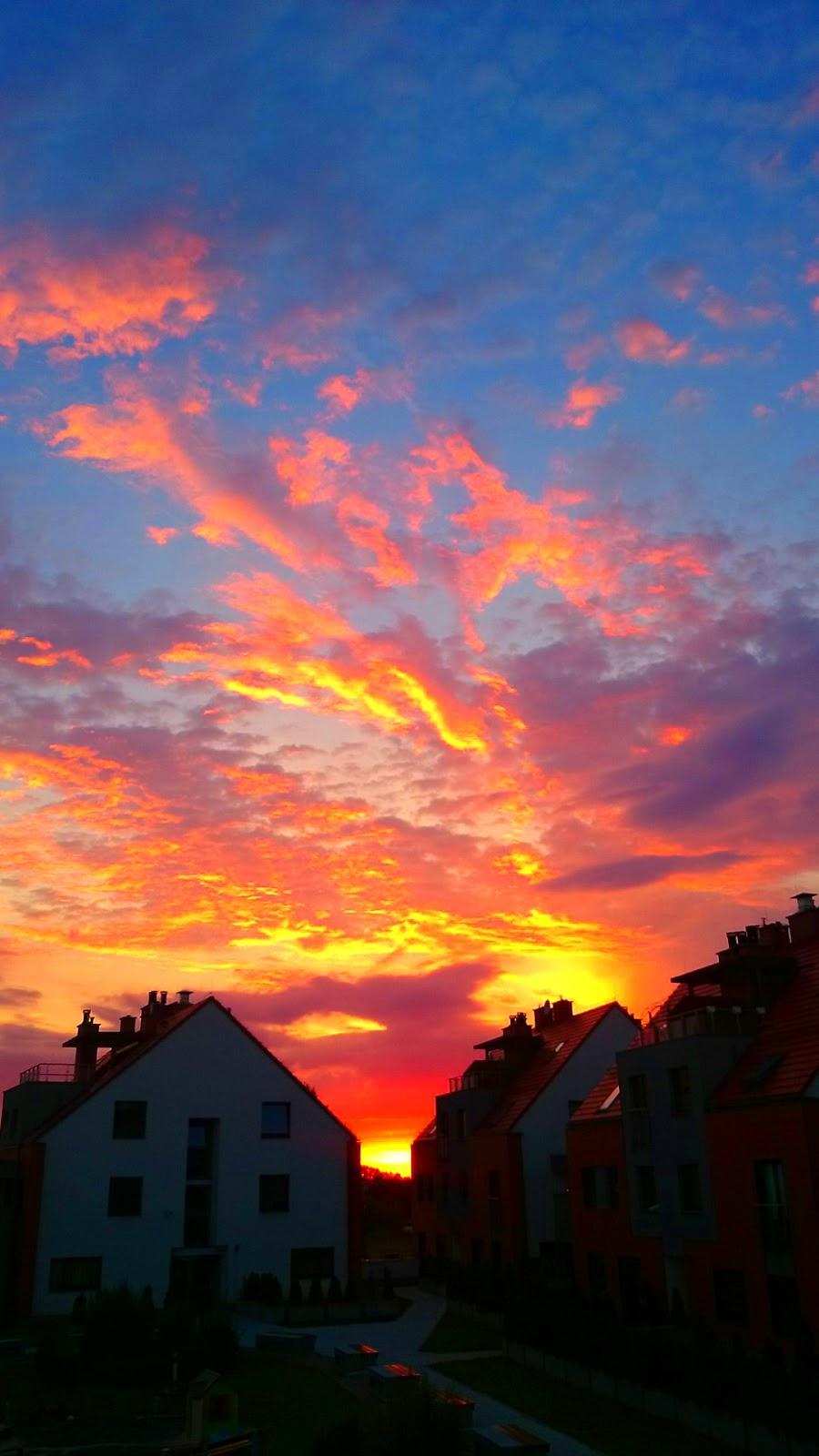 Osiedle Bursztynowe zachód słońca, wrocławskie osiedla