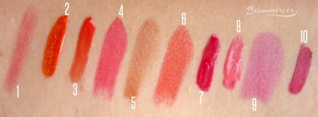 10 best budget lipsticks and lipglosses for summer - swatches
