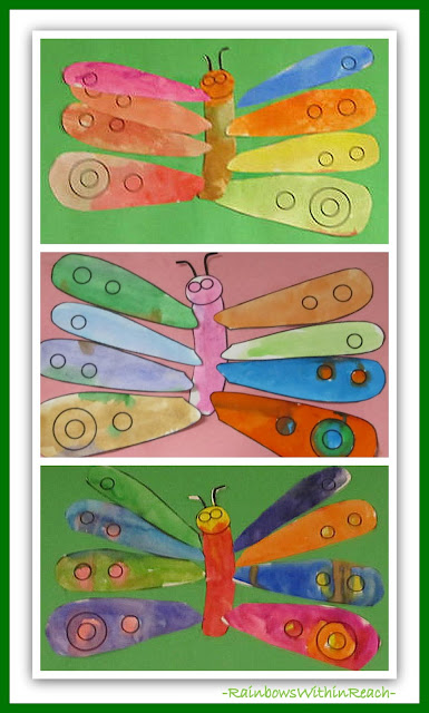 photo of: Butterflies for conclusion of The Very Hungry Caterpillar (Eric Carle RoundUP at RainbowsWithinReach)