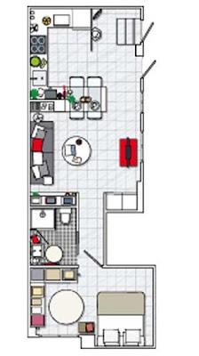 plano apartamento pequeño 40m2