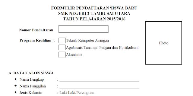 Formulir pendaftaran Siswa Baru SMK Negeri 2 Tambusai Utara