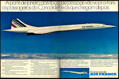 propaganda Concorde Air France - 1975. anos 70.  1975. propaganda década de 70. Oswaldo Hernandez.Reclame anos 70