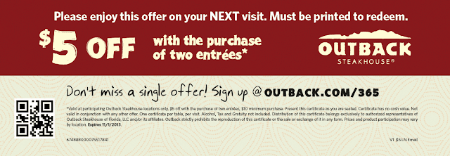 image regarding Outback Coupons $10 Off Printable known as Outback Steakhouse -$5 Off 2 Entrees Printable Coupon (+