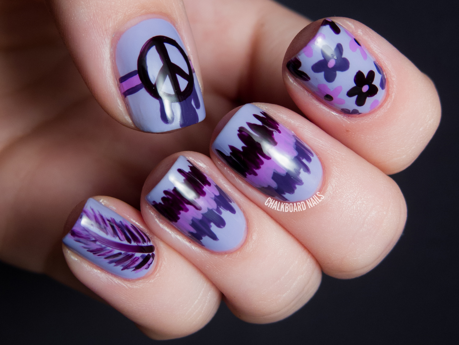 31dc2013 day 06 violet hippie mix chalkboard nails nail art blog had an easier time coming up with this nail art than i did on blue day two days in a row of that and i think i would have had a breakdown prinsesfo Choice Image