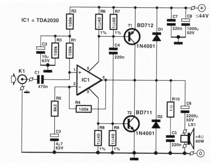 40 watt tda2030 ic based audio amplifier circuit diagram