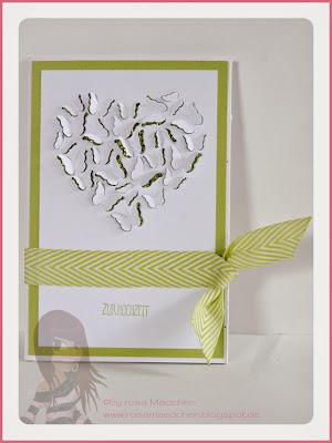 Rosa Mädchen Stampin' Up! Hochzeitskarte mit Butterfly Heart