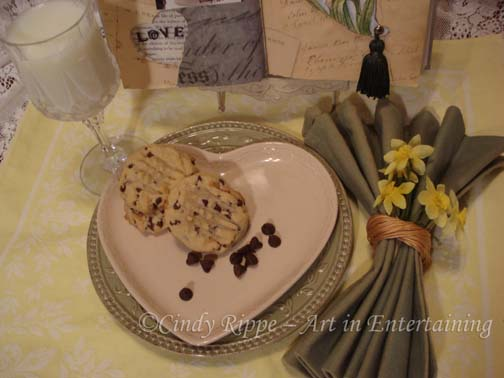 Mixed Media, Altered Art, milk and Toll House cookies, Valentine's Day, Daffodil painting, tablescape, Cindy Rippe