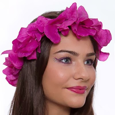 make com mix de cores rosa e roxo e coroa de flores Carnaval