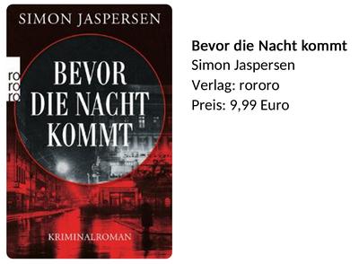 Simon Jaspersen Bevor die Nacht kommt