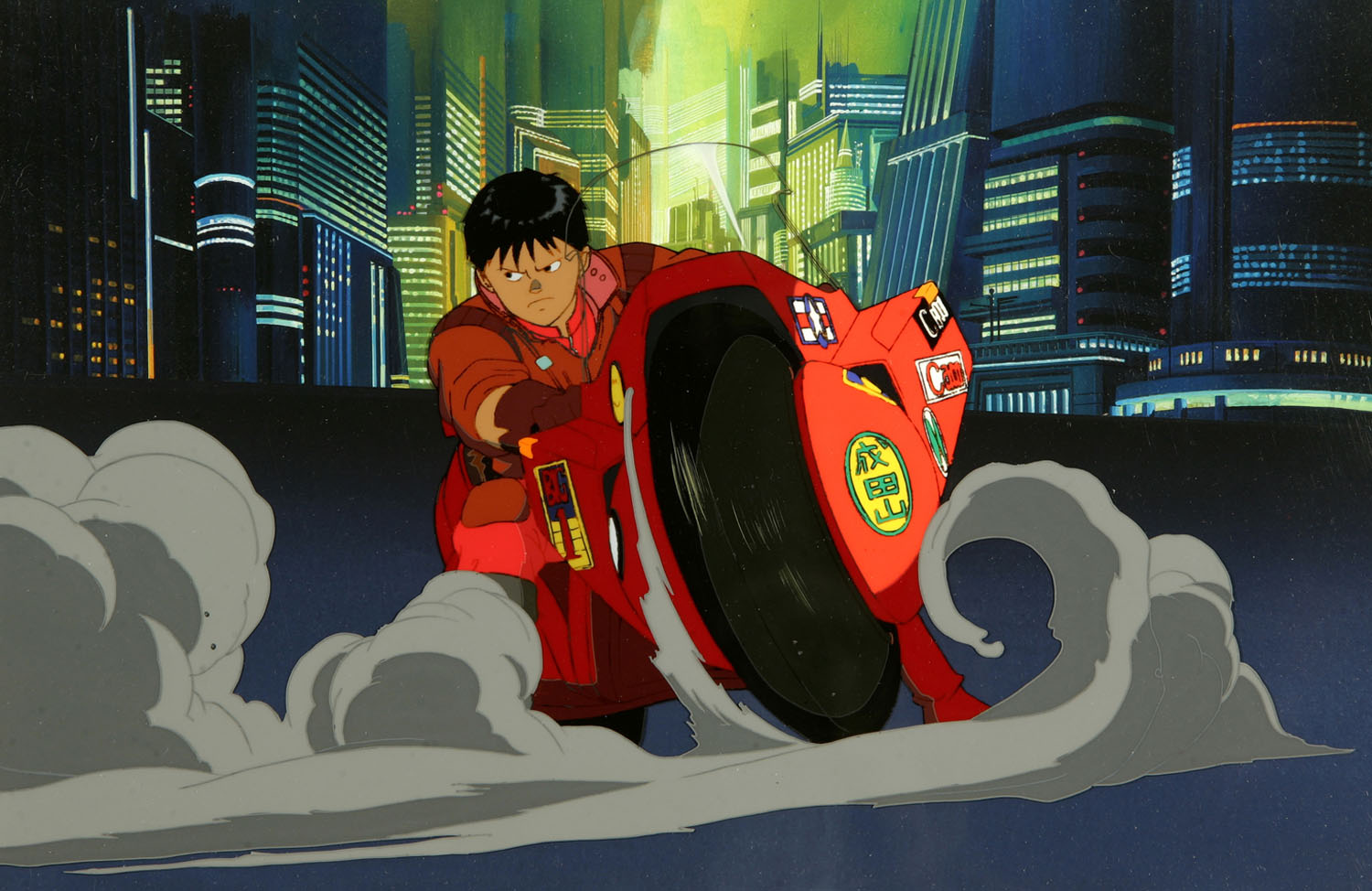 Kaneda driving motorcycle Akira 1988 animatedfilmreviews.blogspot.com