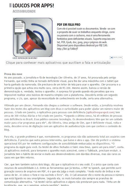 Descrição da imagem: Recorte da reprodução do site do Estado de Minas, na qual está escrito LOUCOS POR APPS. Abaixo o logo do aplicativo PDF em Fala e o trecho da matéria que está reproduzida no corpo desse post. Fim da descrição