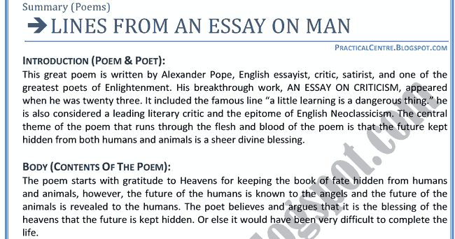 alexander essay man pope summary Summary and analysis chapter i bookmark this page manage my reading list the story and popularized widely in the essay on man (1733-34) by alexander pope.