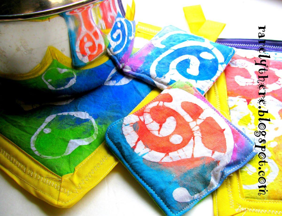 Sewing: Paste Batik Pot-holders, Coasters, Place Mats