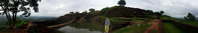 Panorama photograph, Sigiriya Lion's Rock, top, summit, high quality, pyramid, granite pool, King Kashyapa palace, ruins