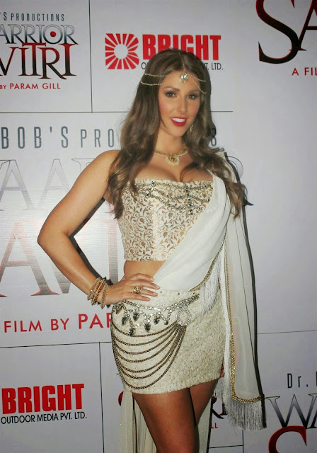 Lucy Pinder Displays Her Sexy Body At Her Bollywood Debut Film 'Warrior Savitri' Press Meet