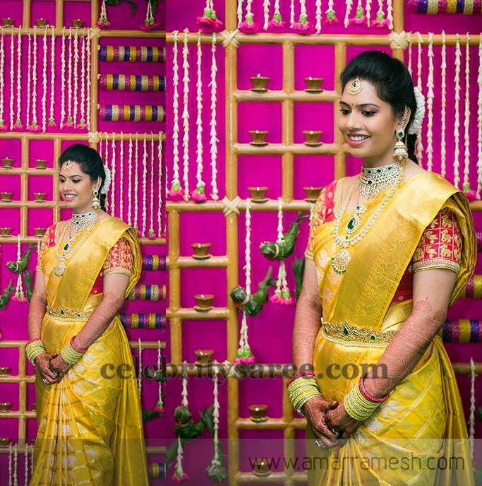 Bride in Greenish Gold Saree
