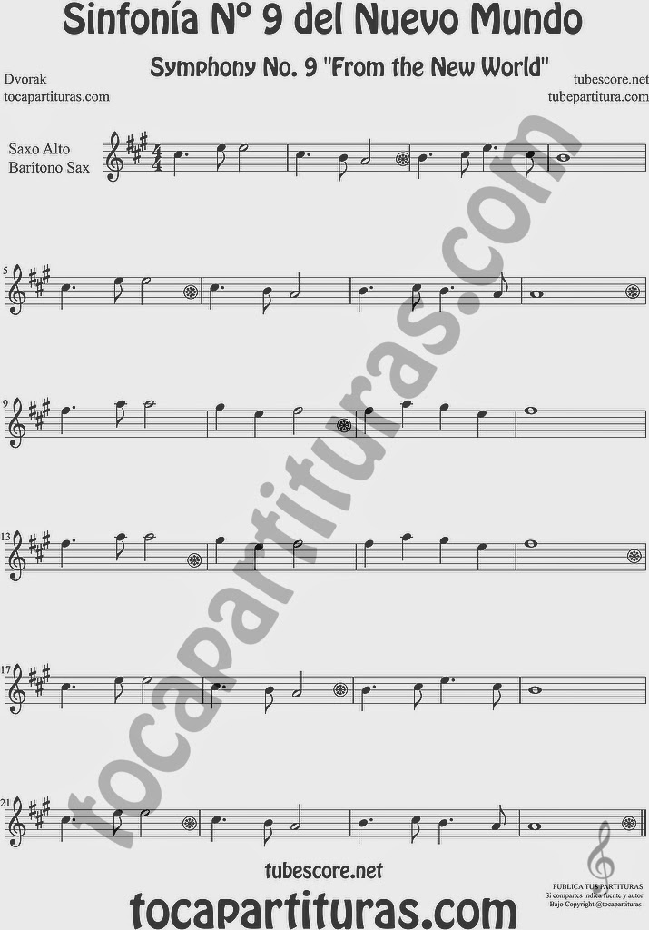 Sinfonía del Nuevo Mundo Partitura de Saxofón Alto y Sax Barítono Sheet Music for Alto and Baritone Saxophone Music Scores 9º Simphony From the New World