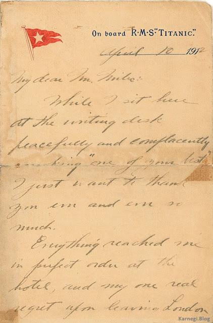 Ниже письмо от 10 апреля 1912, которое John Snyder написал на борту Титаника