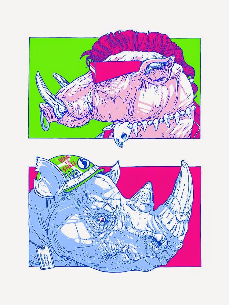 Bebop & Rocksteady TMNT Print by Justin DeVine