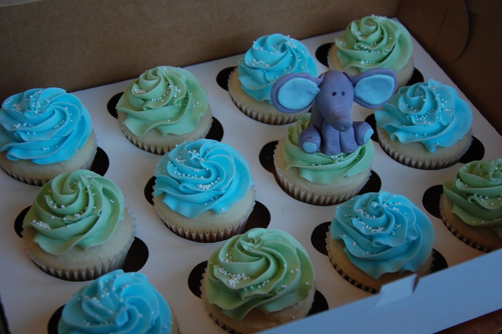 Elephant Baby Shower Cupcakes