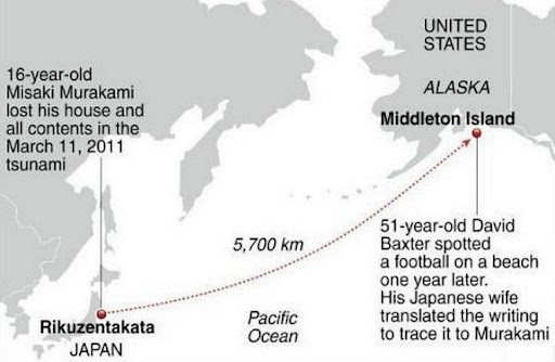 Misaki Murakami's ball that swept away by last year's tsunami found more than 3,000 miles away