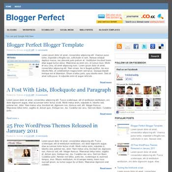 WP Perfect Blogger Template. 3 column footer blogger template. 3 column blogger template