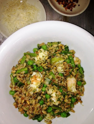 Farro With Pesto, Shrimp. Asparagus And Peas