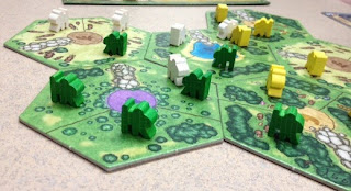 Power Grid: First Sparks meeples on the board