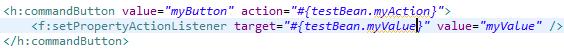 passing parameter with f:setPropertyActionListener in JSF