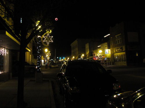 James street, Ludington, at night with holiday decorations
