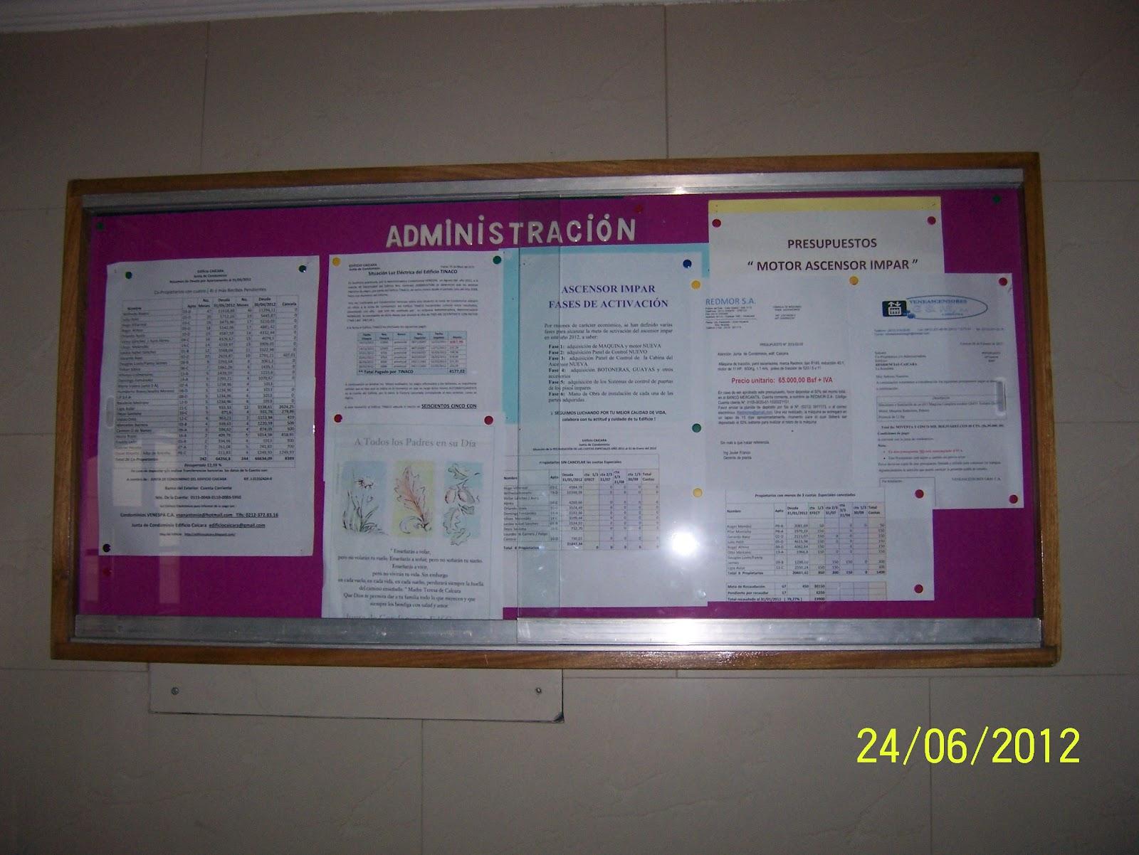 Edificio CAICARA: Nuevos Vidrios Cartelera informativa