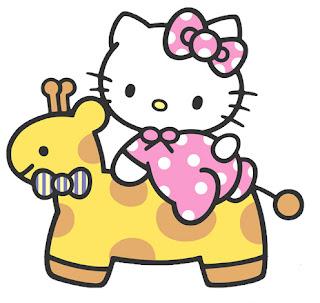 helo kitty jugando con su jirafa