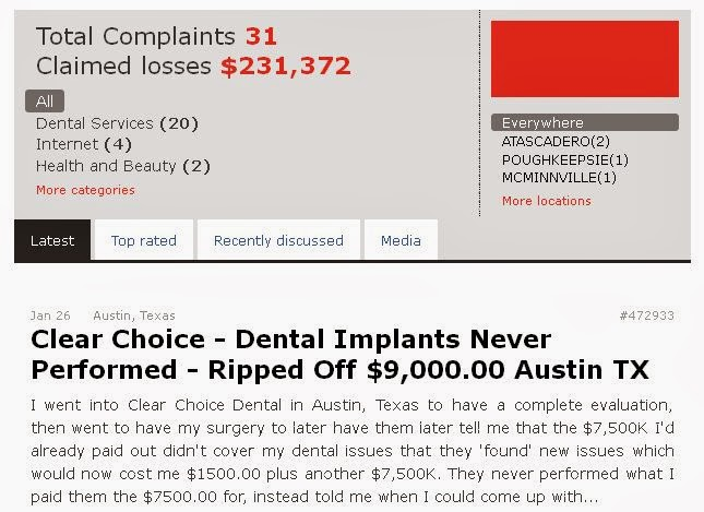 Dental implant center reviews and complaints reports scams reports