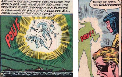 Hawkman 23 and AITU 165 panels by Richard Hughes sharing sound effect 'Pouf'