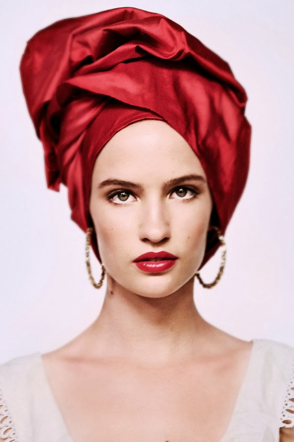 Woman in Red Turban for Baraka Women Fashion - Branding image, White Background Studio Photography by Kent Johnson.