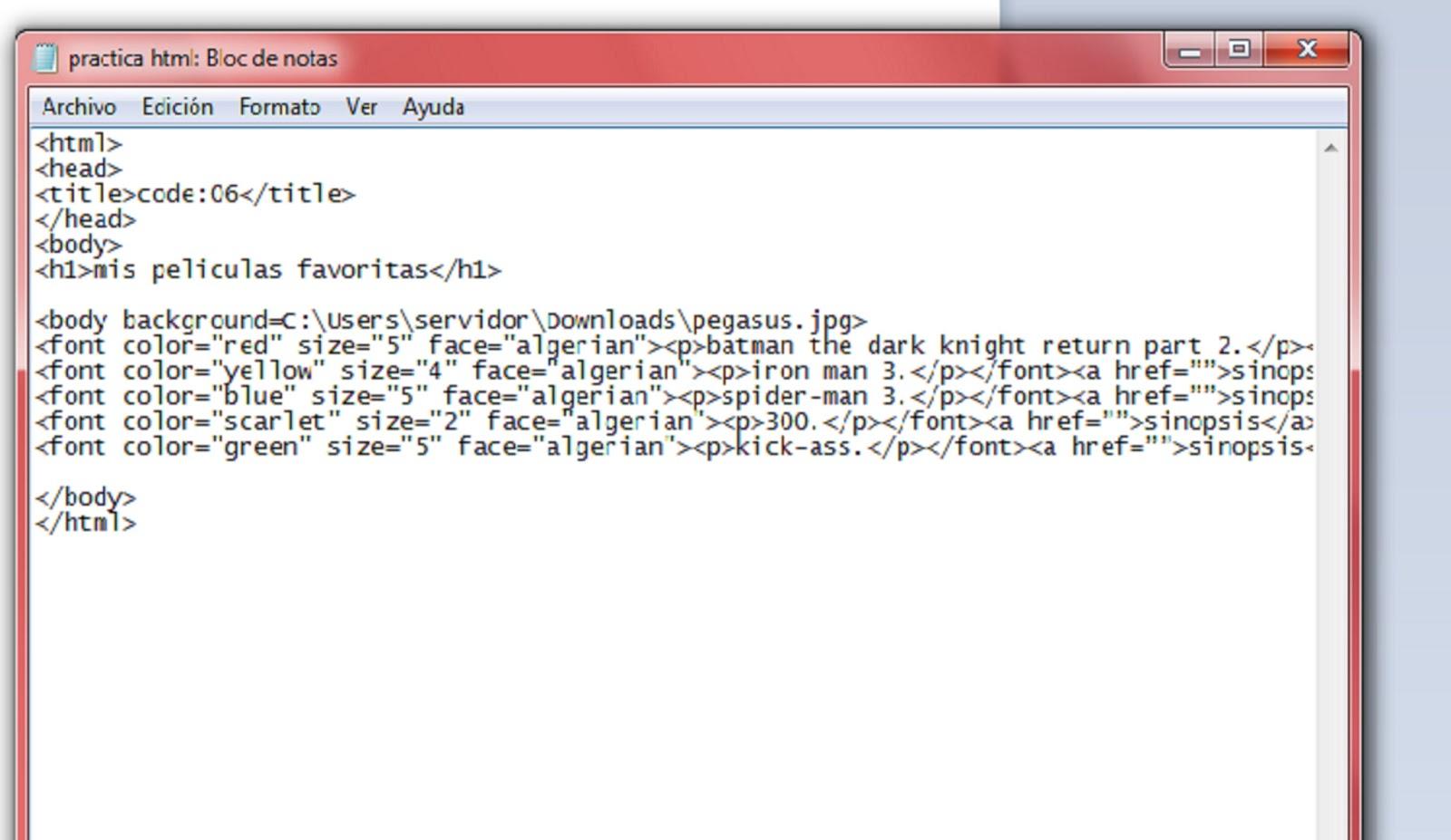 reporte html | reporte practica uno
