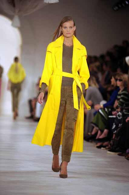 Ralph Lauren, New York, Fashion Week, Yellow Trend, Trench Coat, style, the purple scarf, melanie.ps, toronto, ontario, canada
