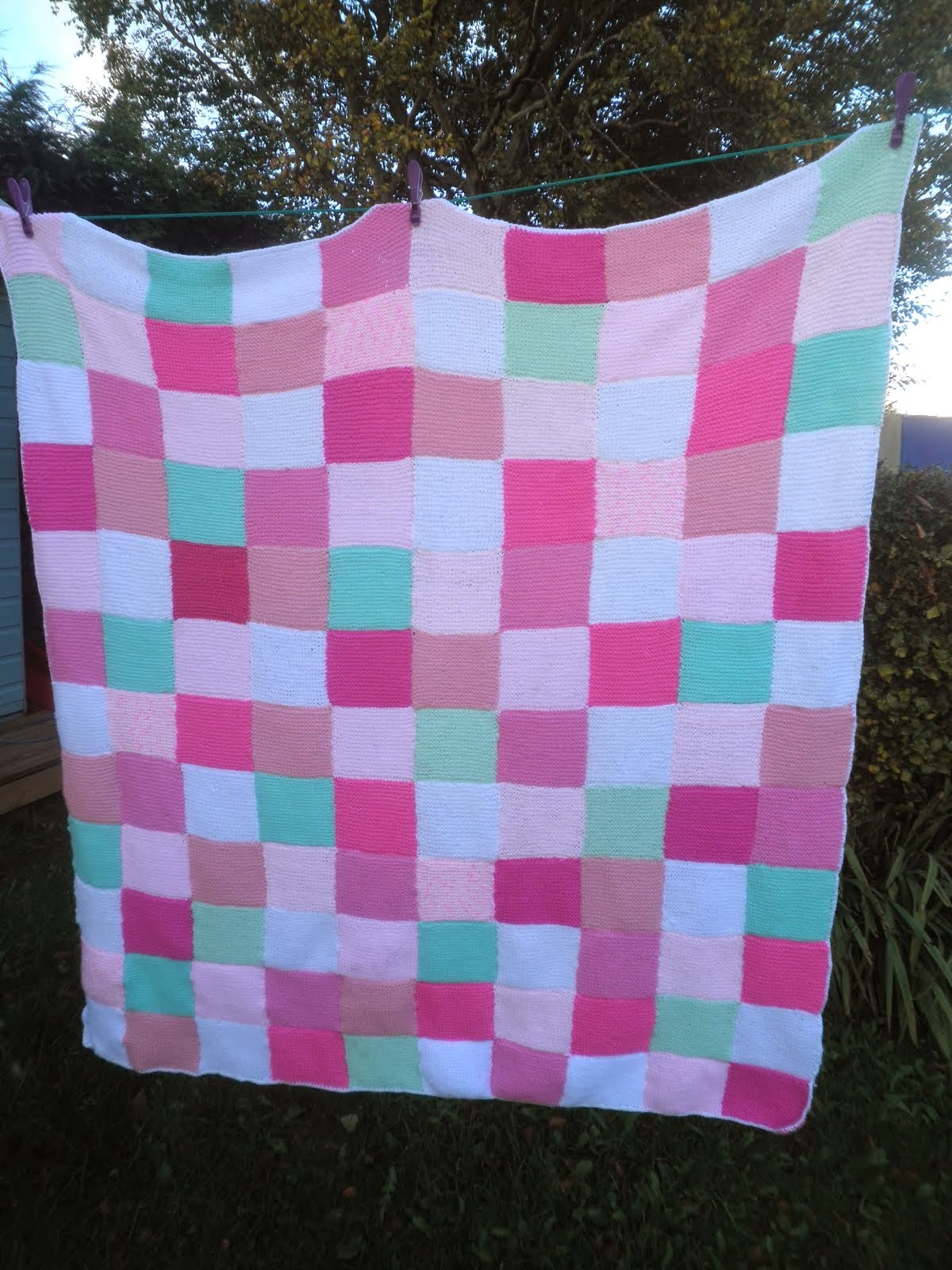 Knitted Patchwork Blanket for my Daughter