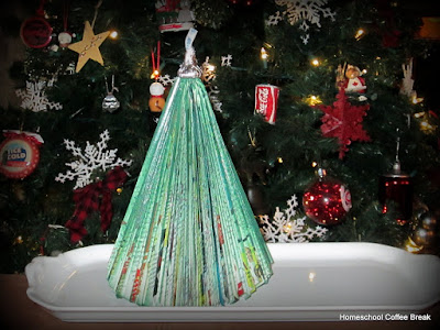 Virtual Refrigerator - Christmas Art: Bookish Tree on Homeschool Coffee Break @ kympossiblenblog.blogspot.com #VirtualFridge #Christmas #art