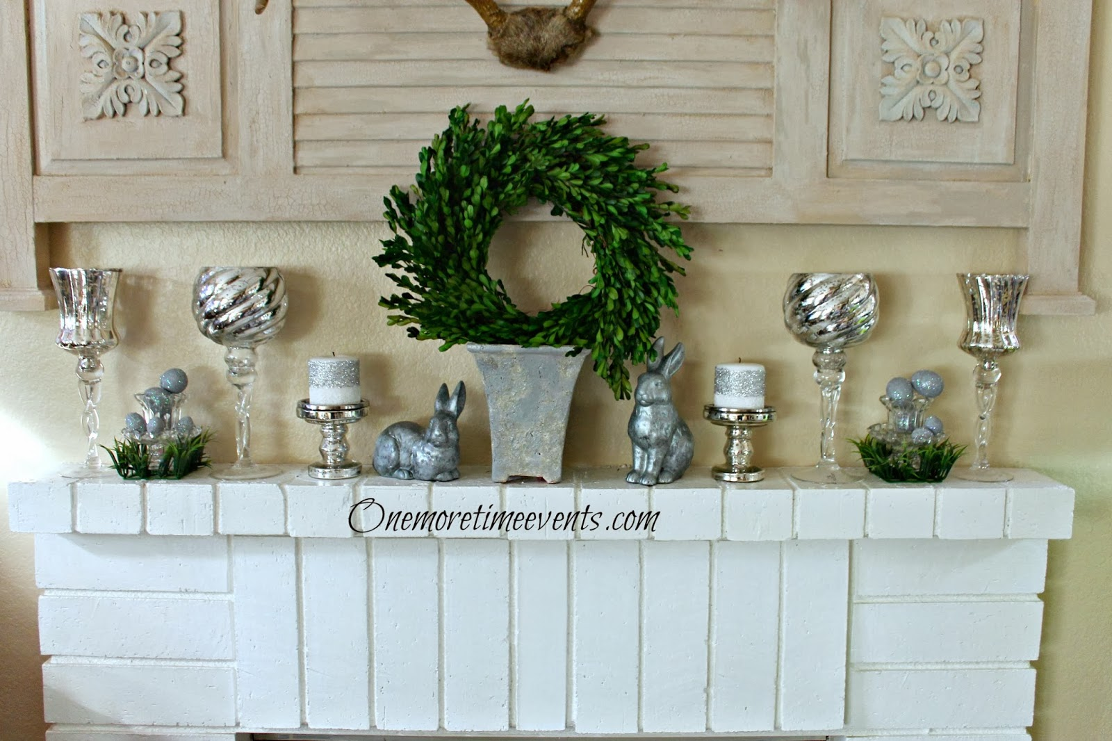 mantel decorated for Spring at One More Time Events.com