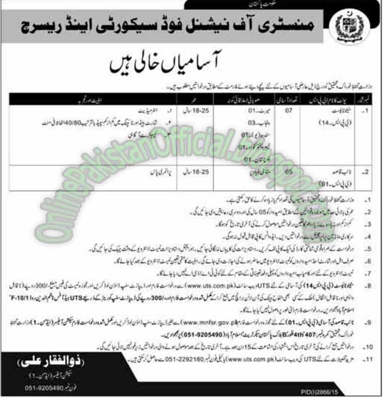 Islamabad Ministry Of National Food Security & Research Job 2015