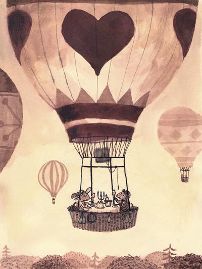 kuumailmapallo kuva lastenhuone juliste