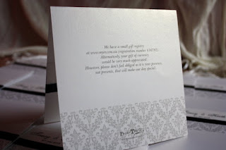 diamante buckle damask wedding invitation card